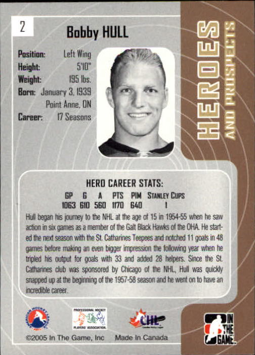 2005-06 ITG Heroes and Prospects #2 Bobby Hull back image