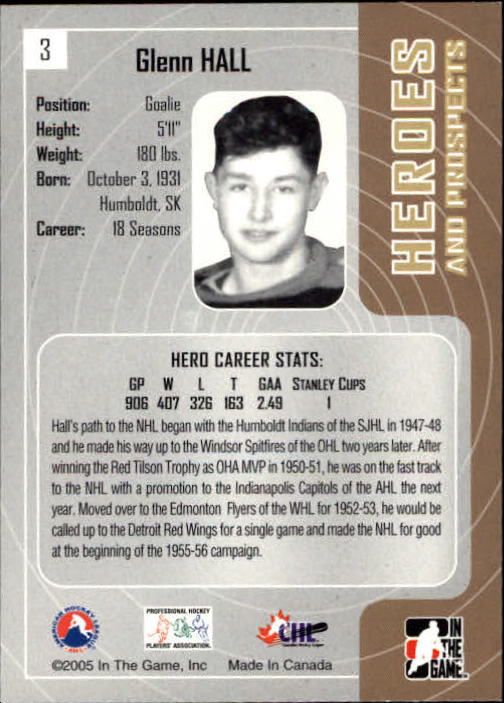 2005-06 ITG Heroes and Prospects #3 Glenn Hall back image