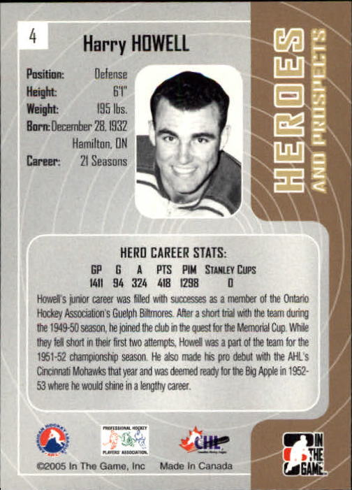 2005-06 ITG Heroes and Prospects #4 Harry Howell back image