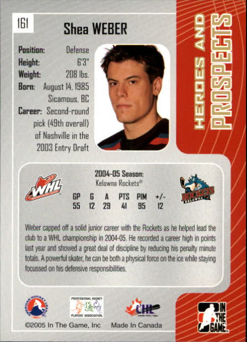 2005-06 ITG Heroes and Prospects #161 Shea Weber back image