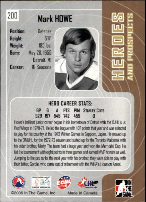 2005-06 ITG Heroes and Prospects #200 Mark Howe back image