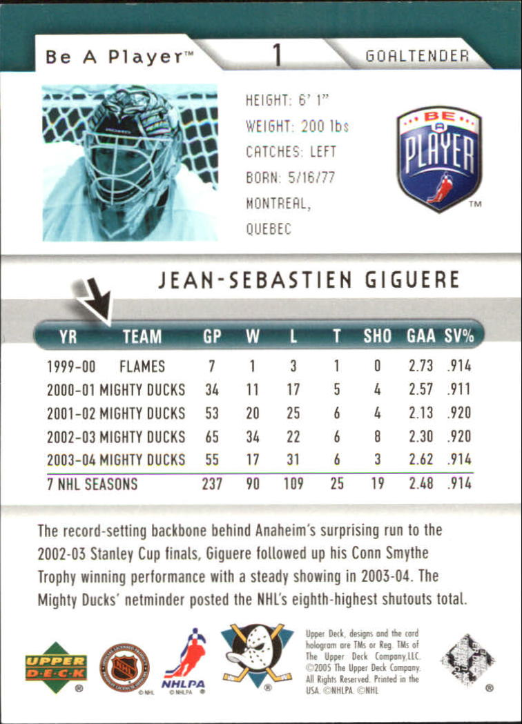 2005-06 Be A Player #1 Jean-Sebastien Giguere back image