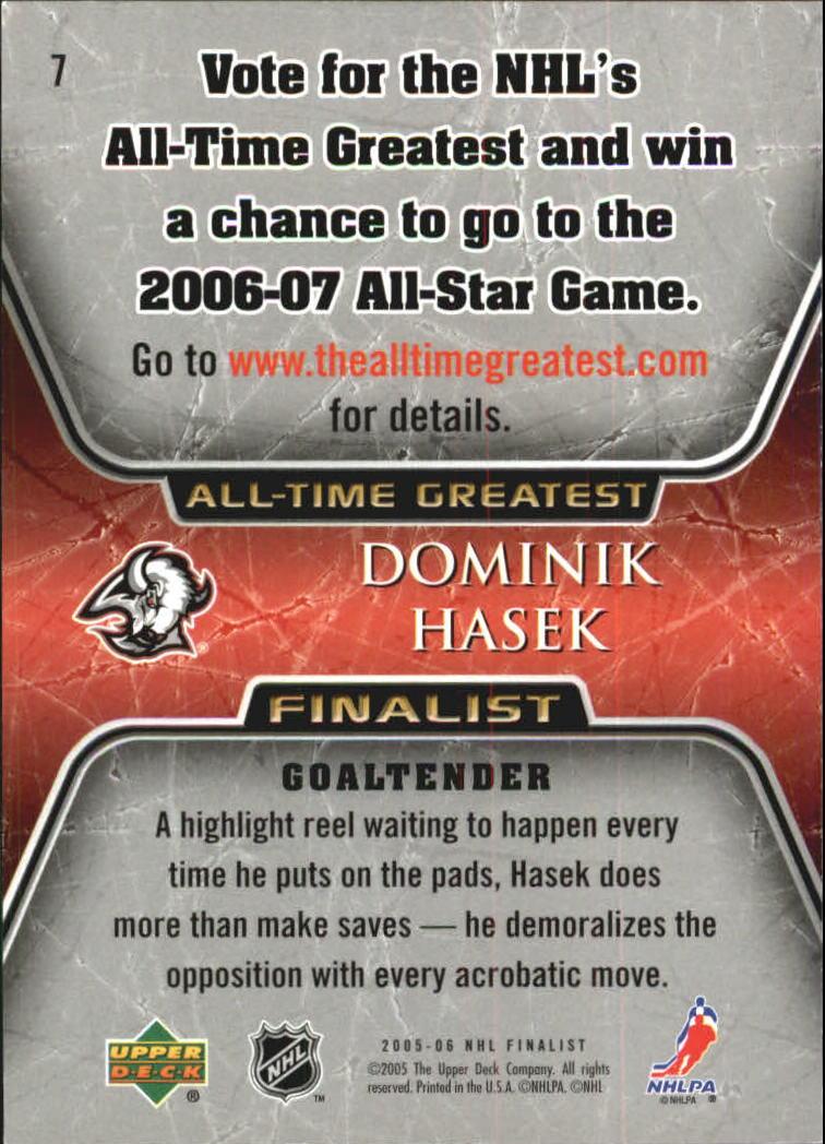 2005-06 Upper Deck All-Time Greatest #7 Dominik Hasek back image