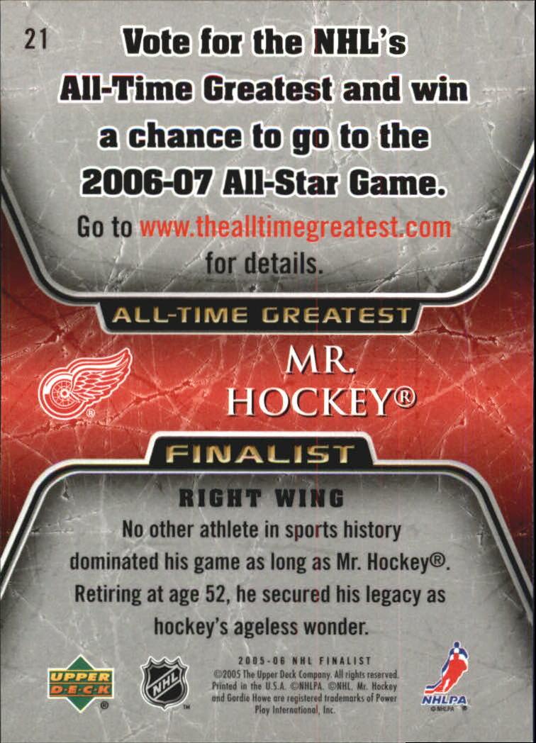 2005-06 Upper Deck All-Time Greatest #21 Gordie Howe back image