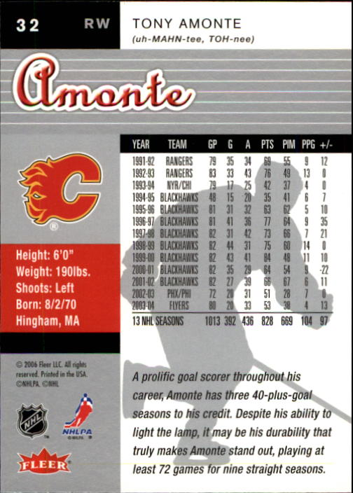 2005-06 Ultra #32 Tony Amonte back image