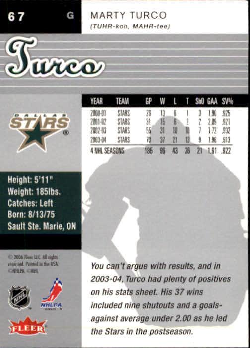 2005-06 Ultra #67 Marty Turco back image