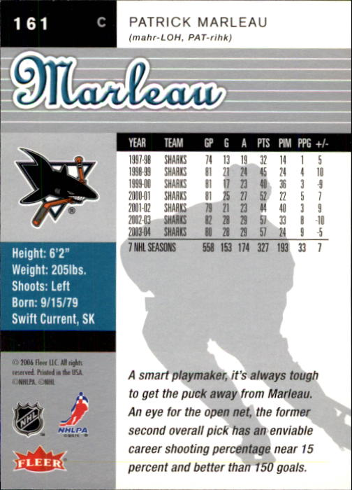 2005-06 Ultra #161 Patrick Marleau back image