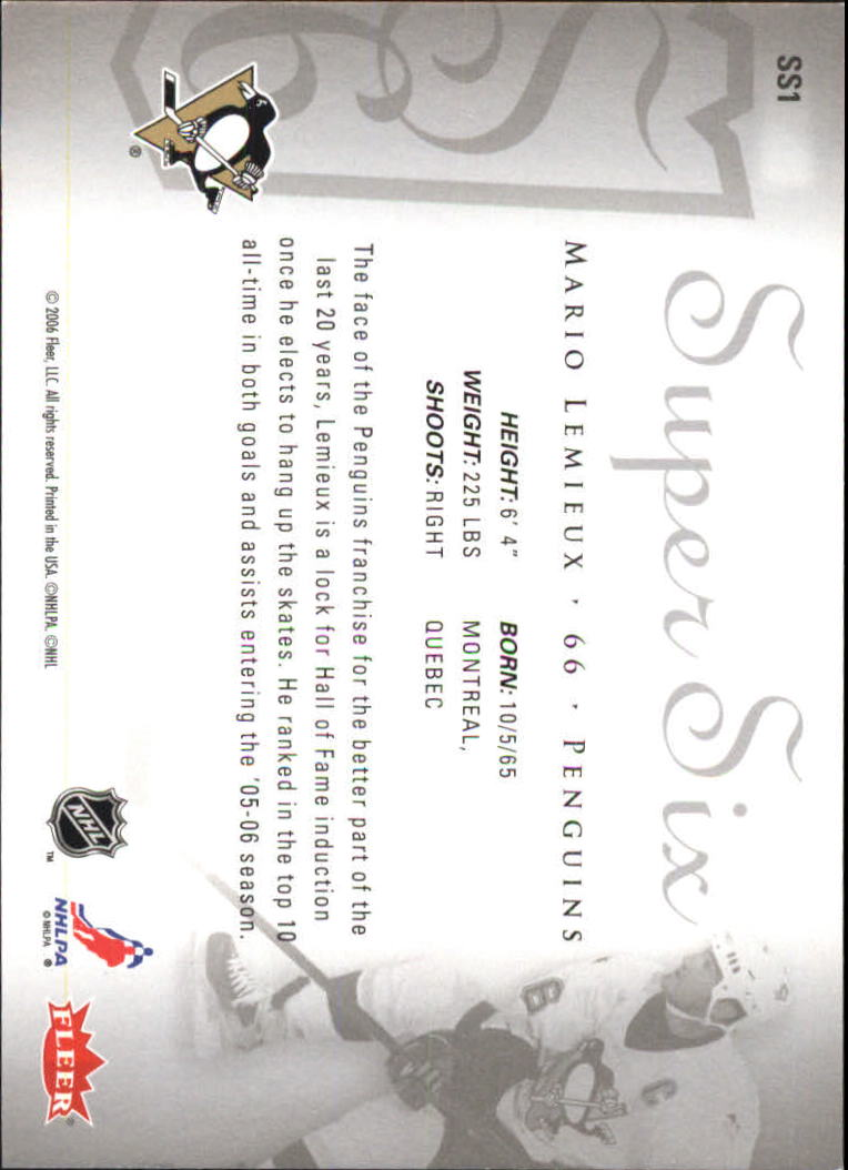 2005-06 Ultra Super Six #SS1 Mario Lemieux back image