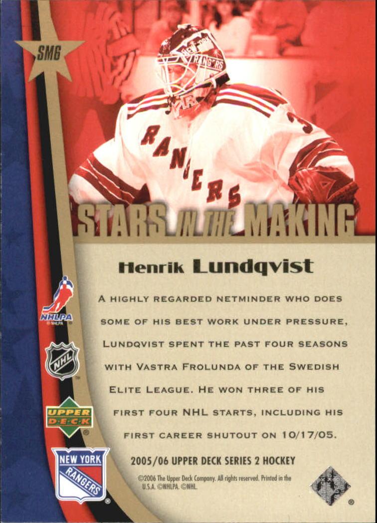 2005-06 Upper Deck Stars in the Making #SM6 Henrik Lundqvist back image