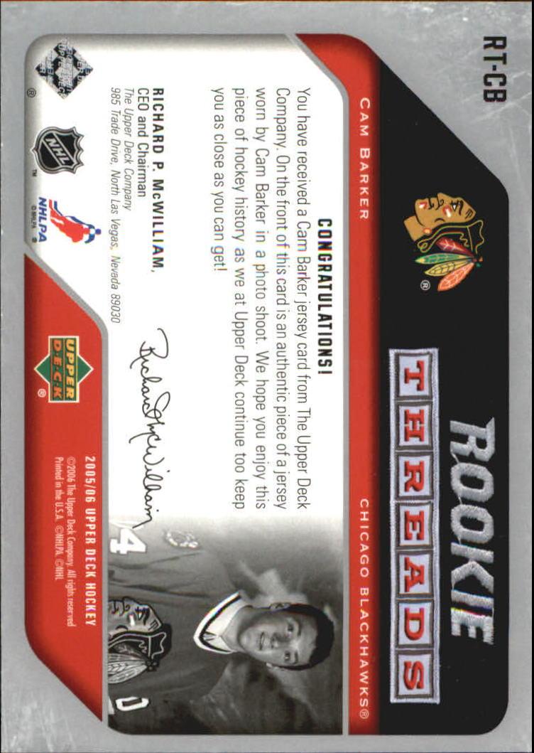 2005-06 Upper Deck Rookie Threads #RTCB Cam Barker back image