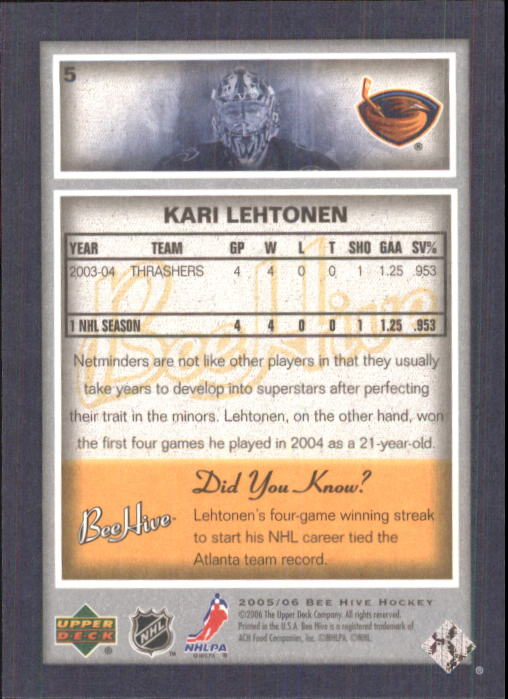 2005-06 Beehive #5 Kari Lehtonen back image