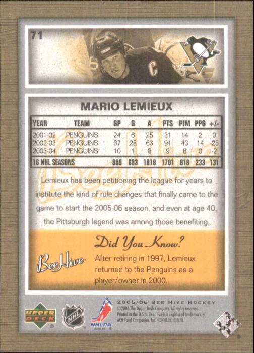 2005-06 Beehive #71 Mario Lemieux back image