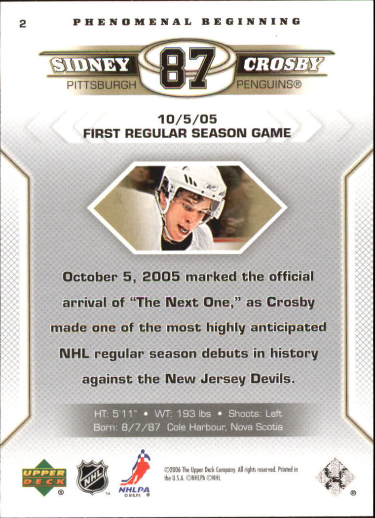 2005-06 Upper Deck Phenomenal Beginnings #2 Sidney Crosby back image