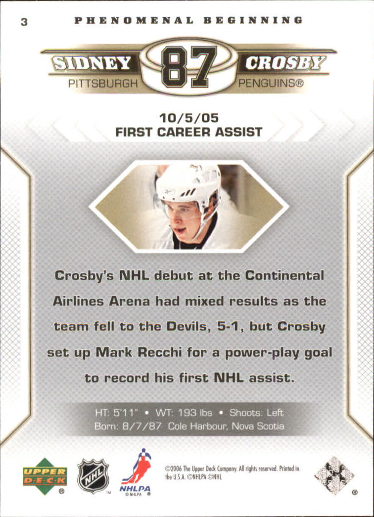 2005-06 Upper Deck Phenomenal Beginnings #3 Sidney Crosby back image