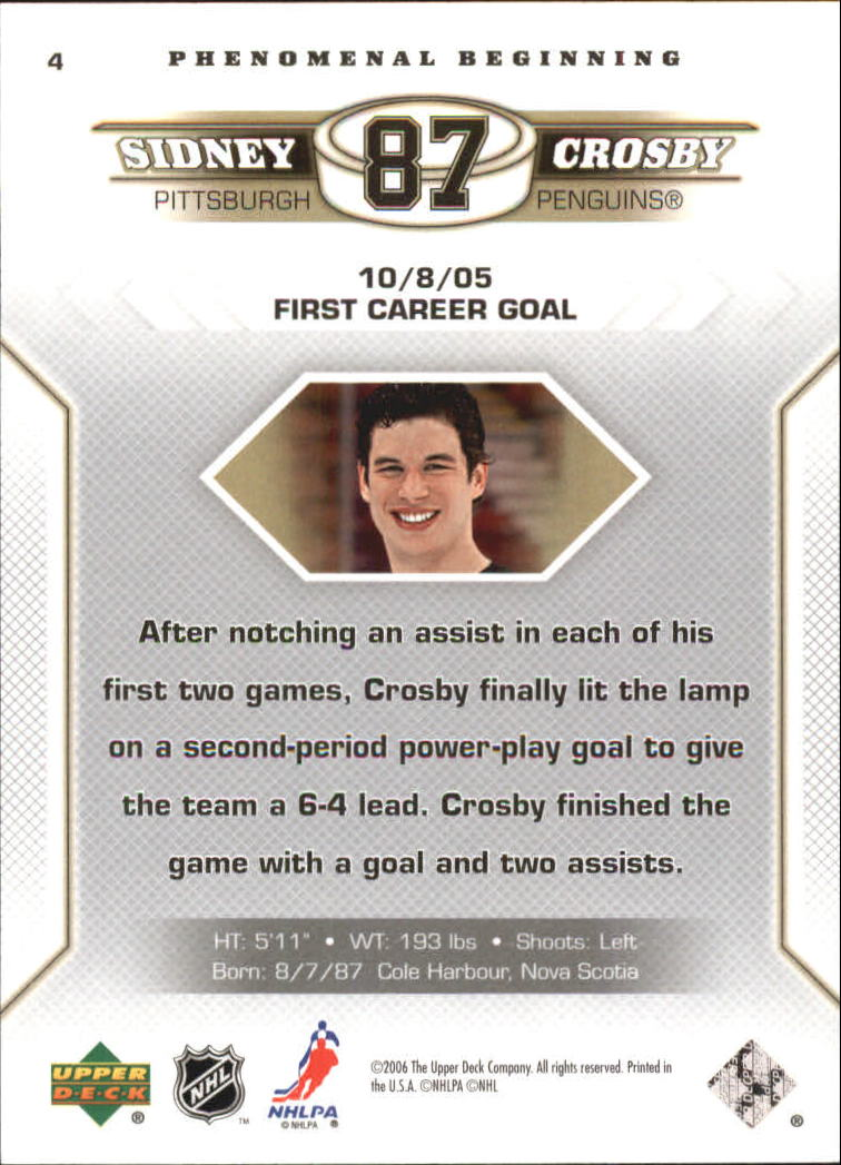 2005-06 Upper Deck Phenomenal Beginnings #4 Sidney Crosby back image