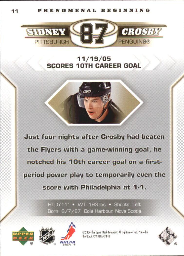 2005-06 Upper Deck Phenomenal Beginnings #11 Sidney Crosby back image