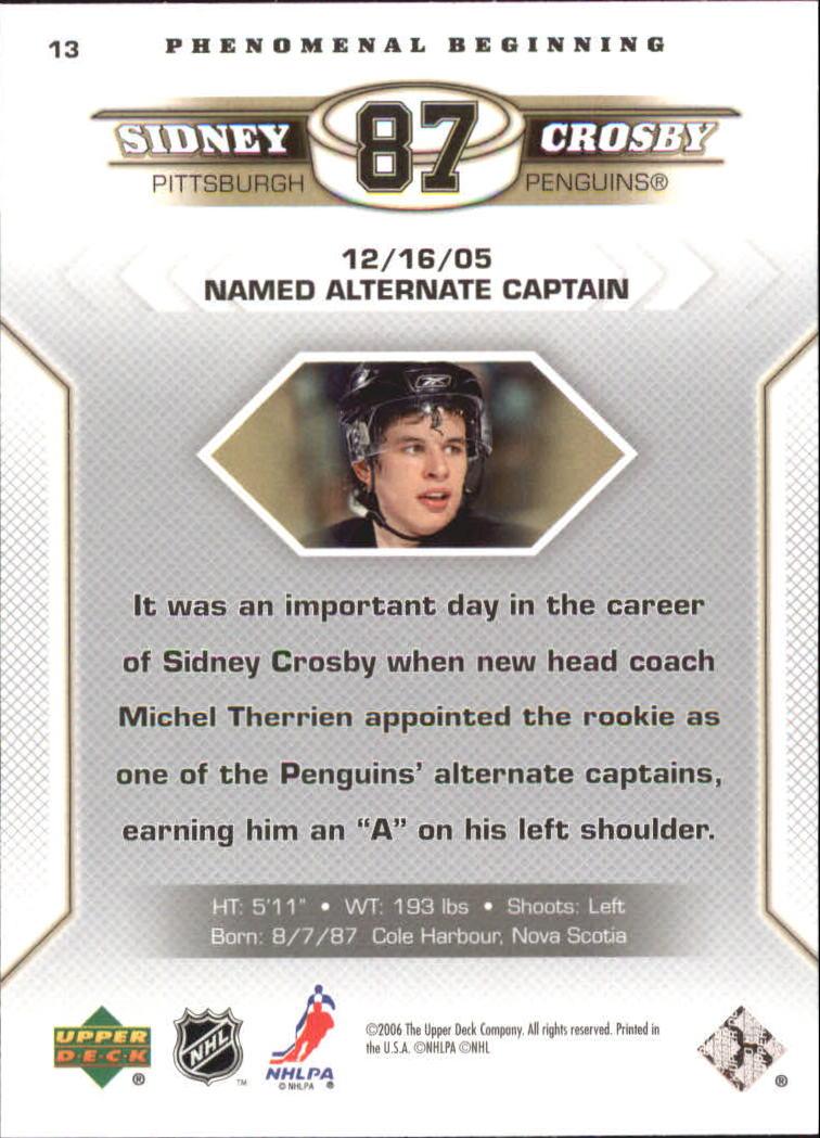 2005-06 Upper Deck Phenomenal Beginnings #13 Sidney Crosby back image
