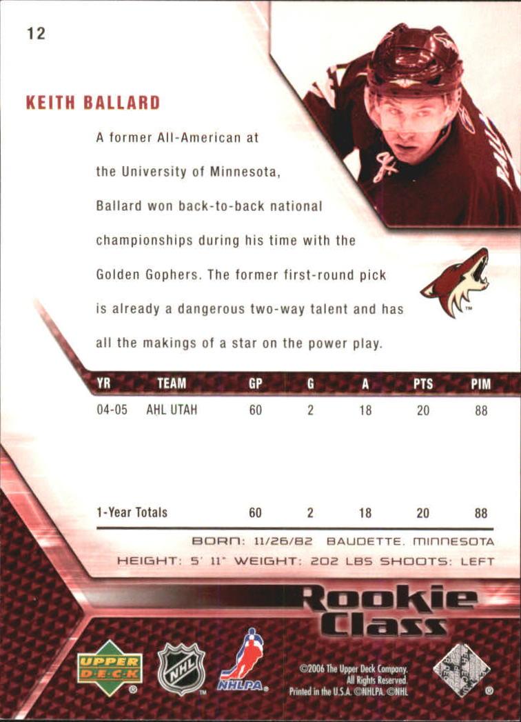 2005-06 UD Rookie Class #12 Keith Ballard back image