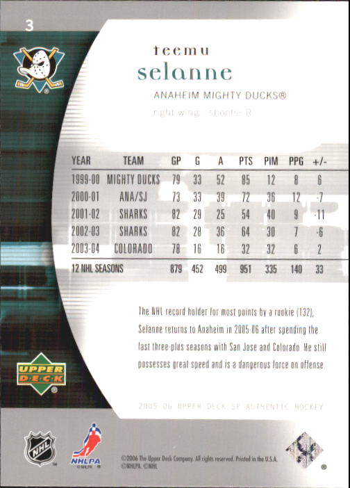 2005-06 SP Authentic #3 Teemu Selanne back image