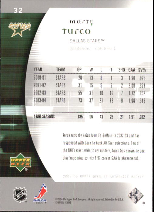 2005-06 SP Authentic #32 Marty Turco back image