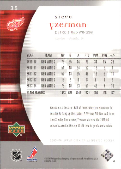 2005-06 SP Authentic #35 Steve Yzerman back image