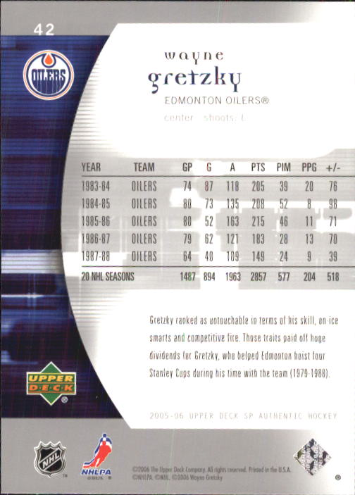 2005-06 SP Authentic #42 Wayne Gretzky back image
