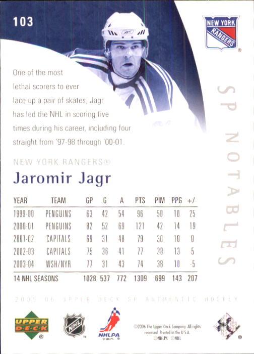 2005-06 SP Authentic #103 Jaromir Jagr/999 back image