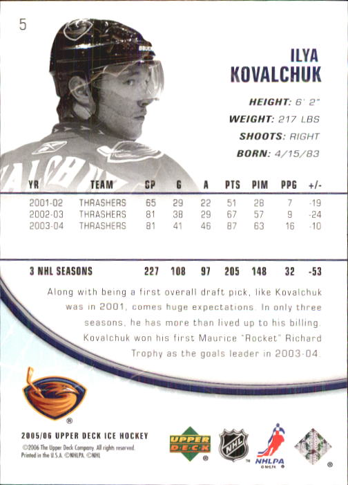 2005-06 Upper Deck Ice #5 Ilya Kovalchuk back image