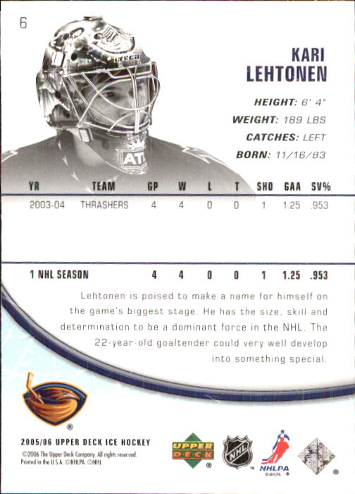 2005-06 Upper Deck Ice #6 Kari Lehtonen back image
