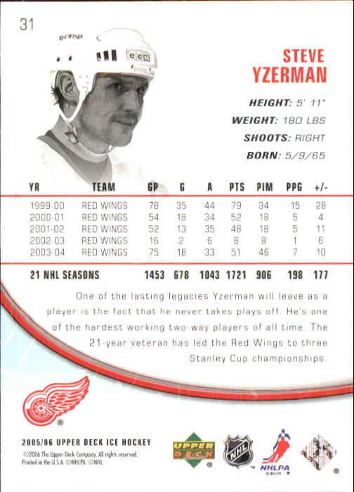 2005-06 Upper Deck Ice #31 Steve Yzerman back image