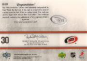 2005-06 Upper Deck Ice Signature Swatches #SSCW Cam Ward back image