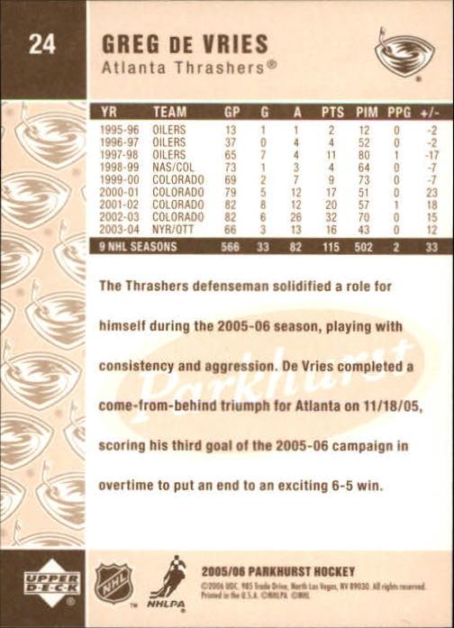 2005-06 Parkhurst #24 Greg de Vries back image