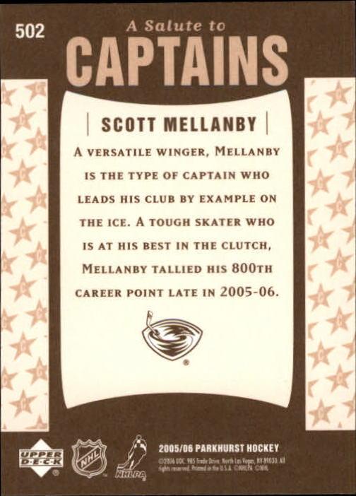 2005-06 Parkhurst #502 Scott Mellanby CPT back image