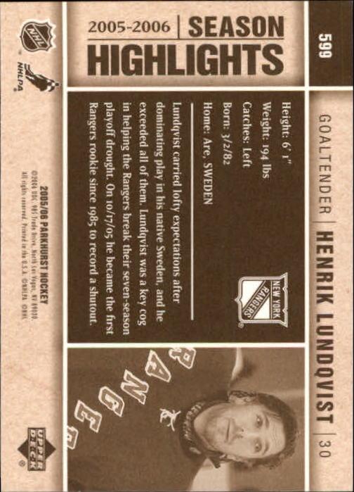 2005-06 Parkhurst #599 Henrik Lundqvist HL back image