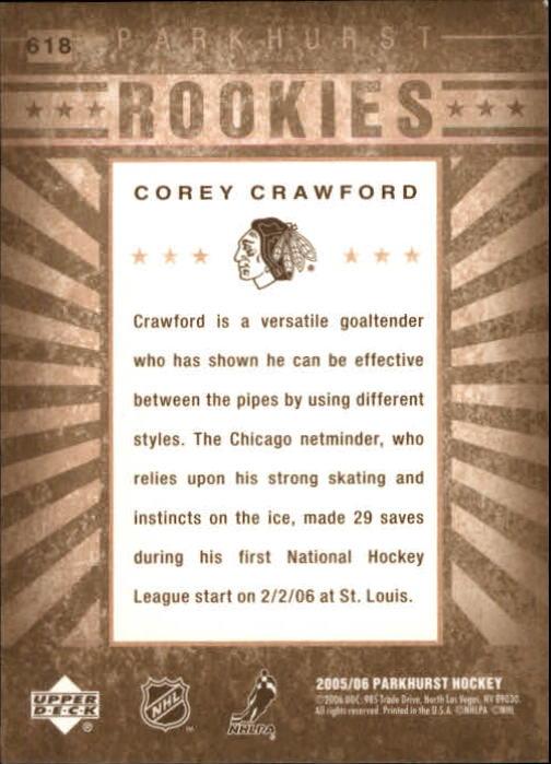 2005-06 Parkhurst #618 Corey Crawford RC back image