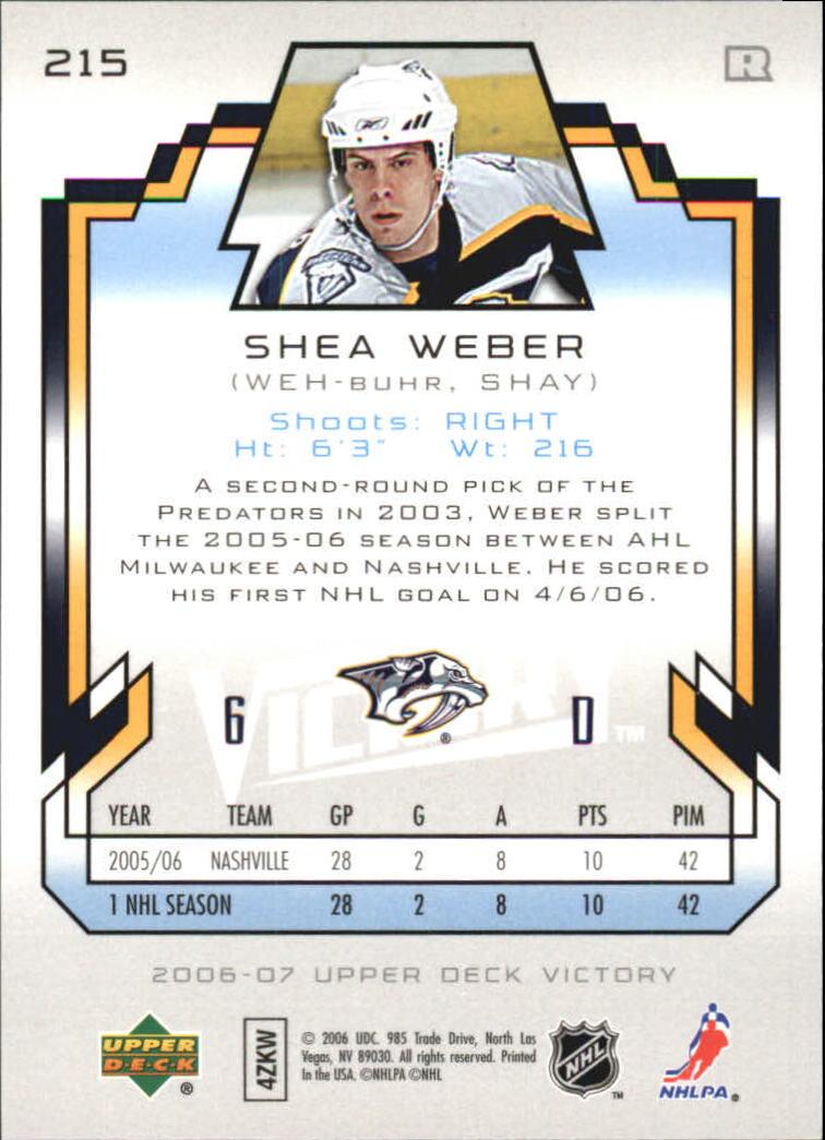 2006-07 Upper Deck Victory #215 Shea Weber RC back image