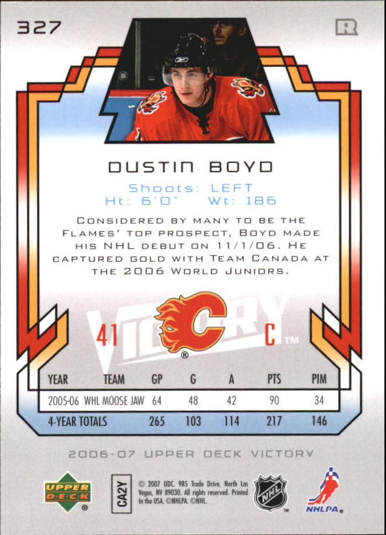 2006-07 Upper Deck Victory #327 Dustin Boyd RC back image