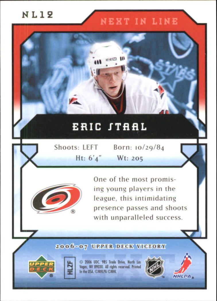 2006-07 Upper Deck Victory Next In Line #NL12 Eric Staal back image