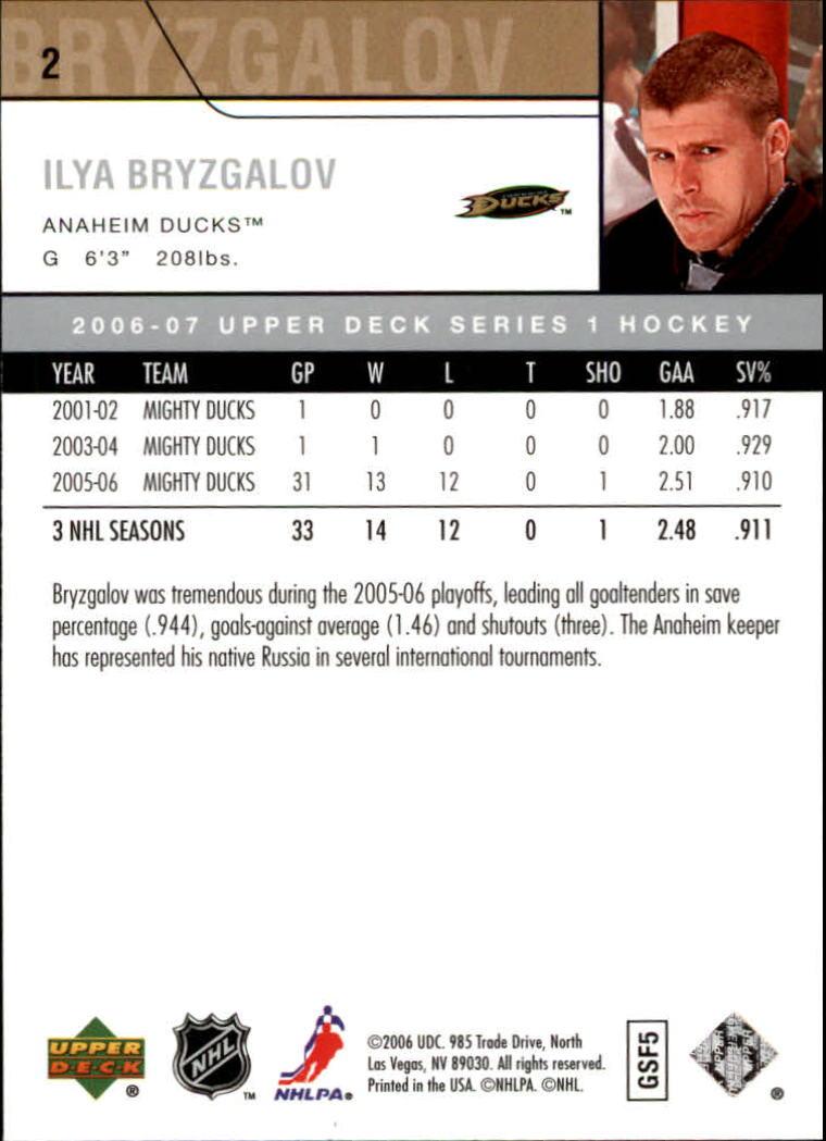 2006-07 Upper Deck #2 Ilya Bryzgalov back image
