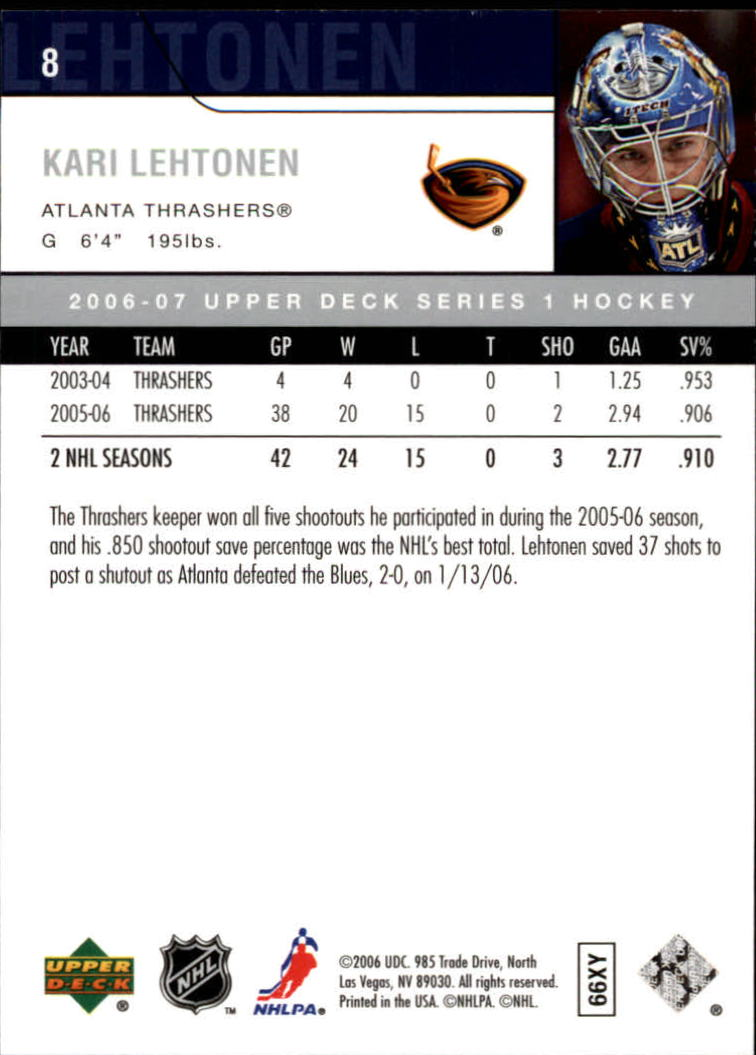 2006-07 Upper Deck #8 Kari Lehtonen back image