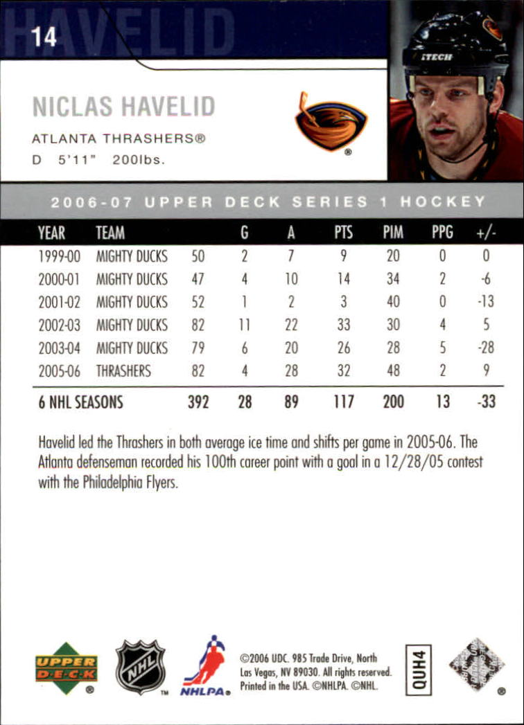 2006-07 Upper Deck #14 Niclas Havelid back image