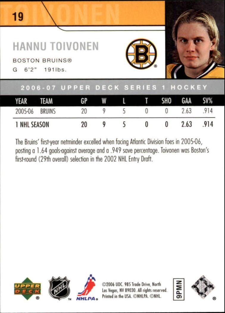 2006-07 Upper Deck #19 Hannu Toivonen back image