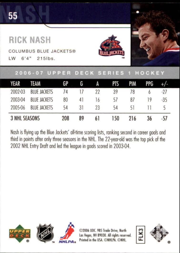 2006-07 Upper Deck #55 Rick Nash back image