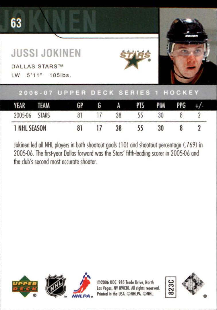 2006-07 Upper Deck #63 Jussi Jokinen back image