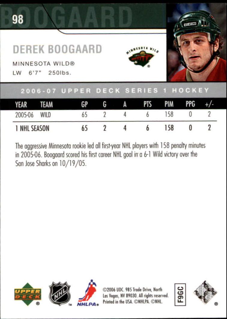 2006-07 Upper Deck #98 Derek Boogaard back image