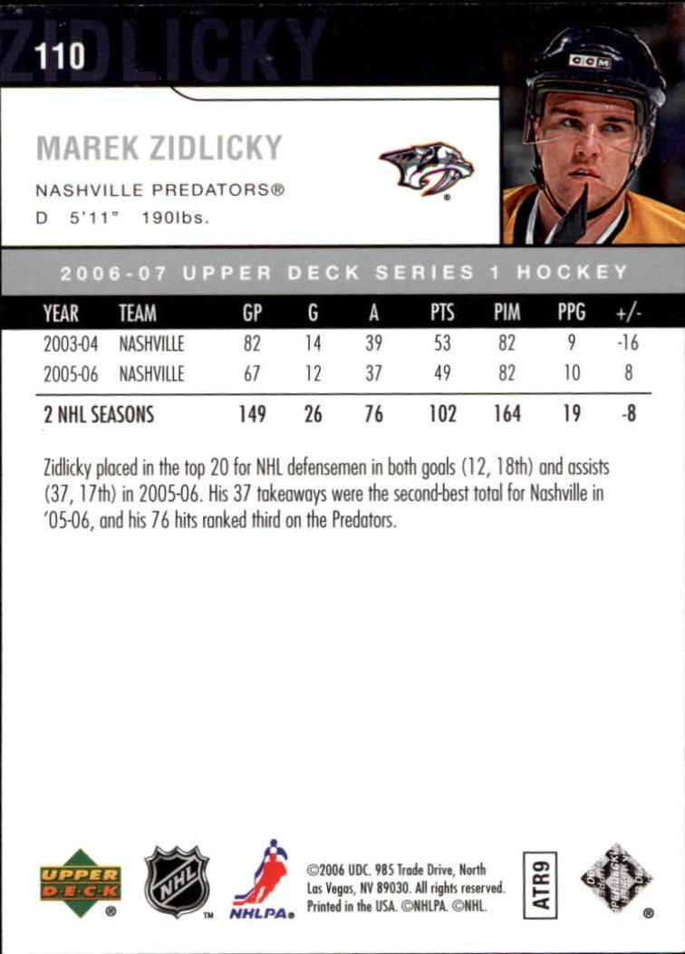 2006-07 Upper Deck #110 Marek Zidlicky back image