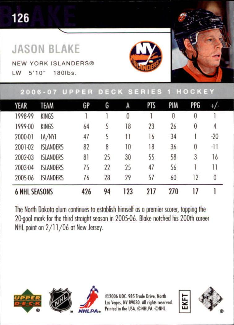 2006-07 Upper Deck #126 Jason Blake back image
