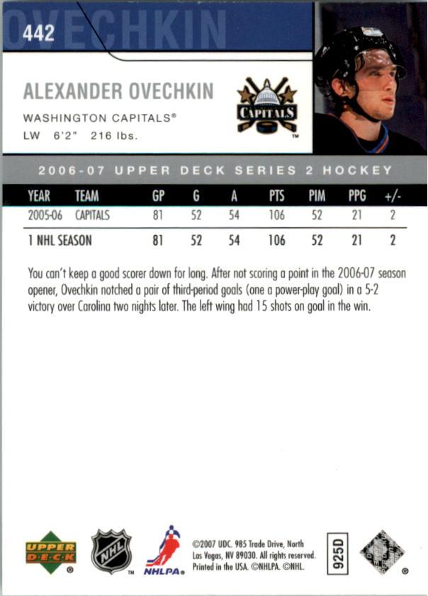 2006-07 Upper Deck #442 Alexander Ovechkin back image