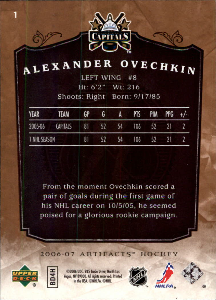 2006-07 Artifacts #1 Alexander Ovechkin back image