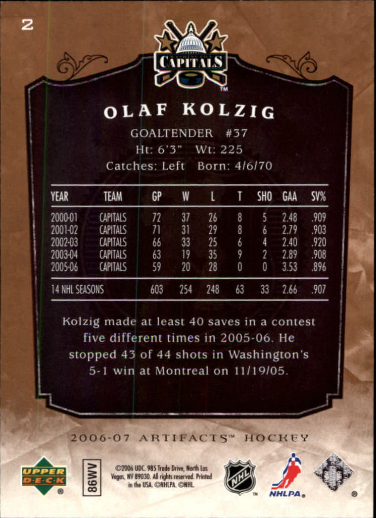 2006-07 Artifacts #2 Olaf Kolzig back image